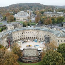 Drone images of Buxton Crescent Hotel and Spa