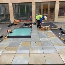 Natural York Stone Paving on Fatra single ply roof